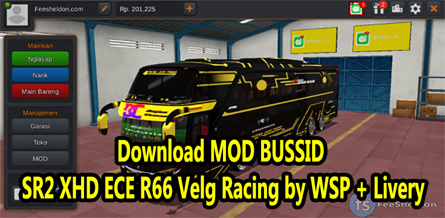 Download MOD BUSSID SR2 XHD ECE R66 Velg Racing by WSP + Livery