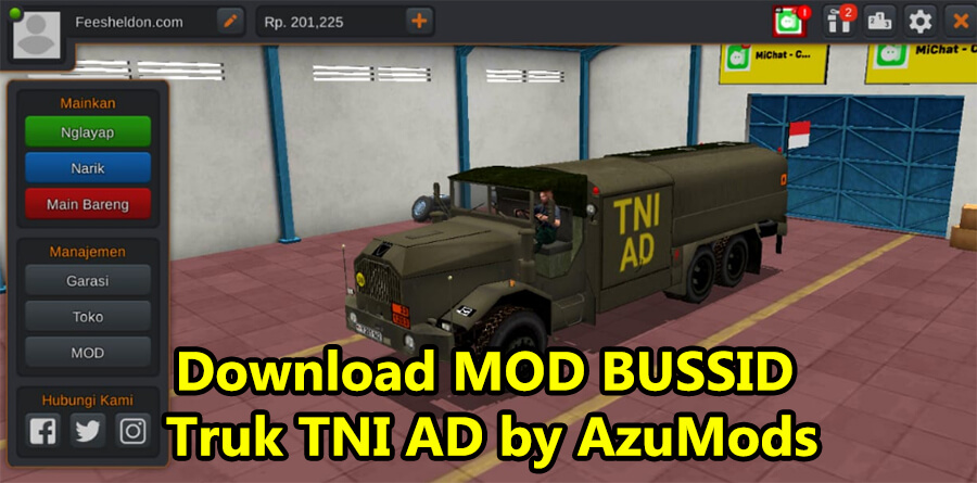 Download MOD BUSSID Truk TNI AD by AzuMods
